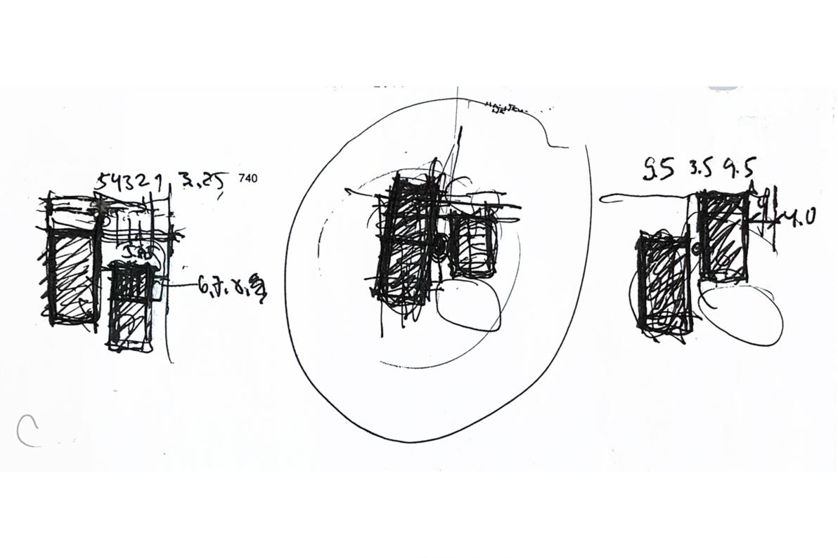 Skizzen zum Grundriss: Version 1, Version 2 (umkreist), Version 3