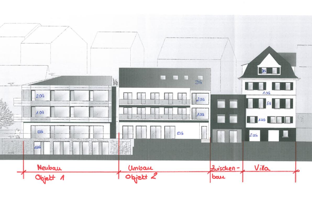 Neu- und Umbau: Visualisierung für den Wettbewerb, Ansicht Süd