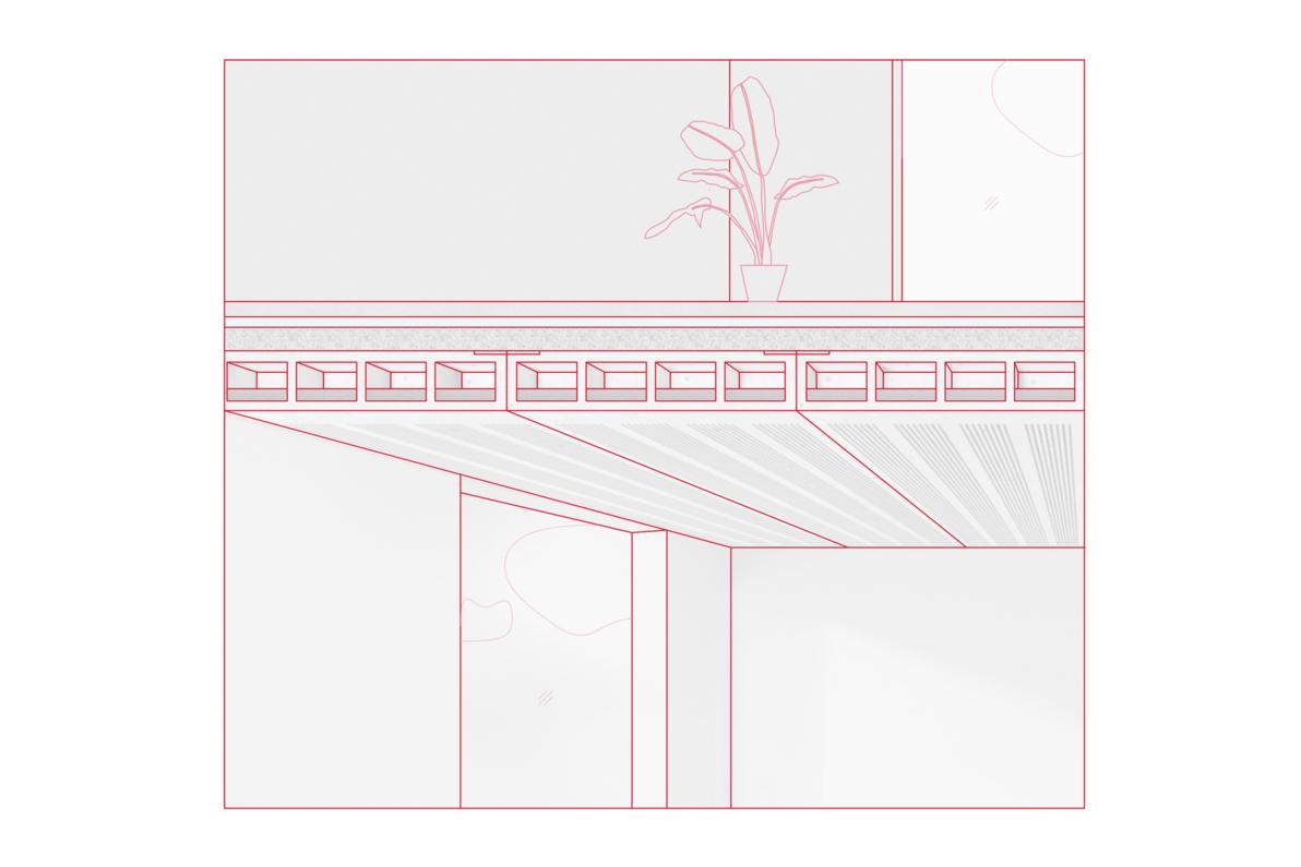 Diese Holzdeckenkonstruktion verbindet sinnvoll die beiden Elemente Wärme- und Brandschutz mit den Anforderungen von Akustik. Durch die spezielle Kombination von Oberflächengestaltung und Volumen der Deckenelemente wird Schall effektiv reduziert. Deckenaufbau (v.o.n.u) Estrich auf Trittschalldämmung und Splittschüttung, darunter die Rohdecke als Lignatur-Flächen-Element. Das von unten sichtbare geschlitzte Kastenelement aus Holz vereint Statik, Schallschutz, Akustik und Optik.