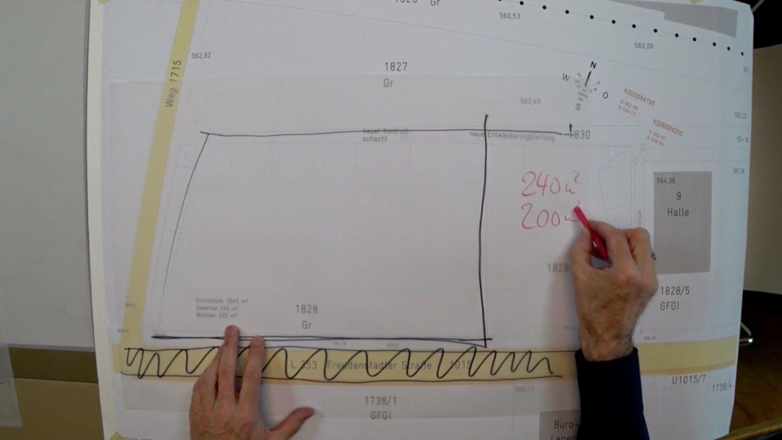 Entwurf und Grundriss des Wohn- und Bürogebäudes
