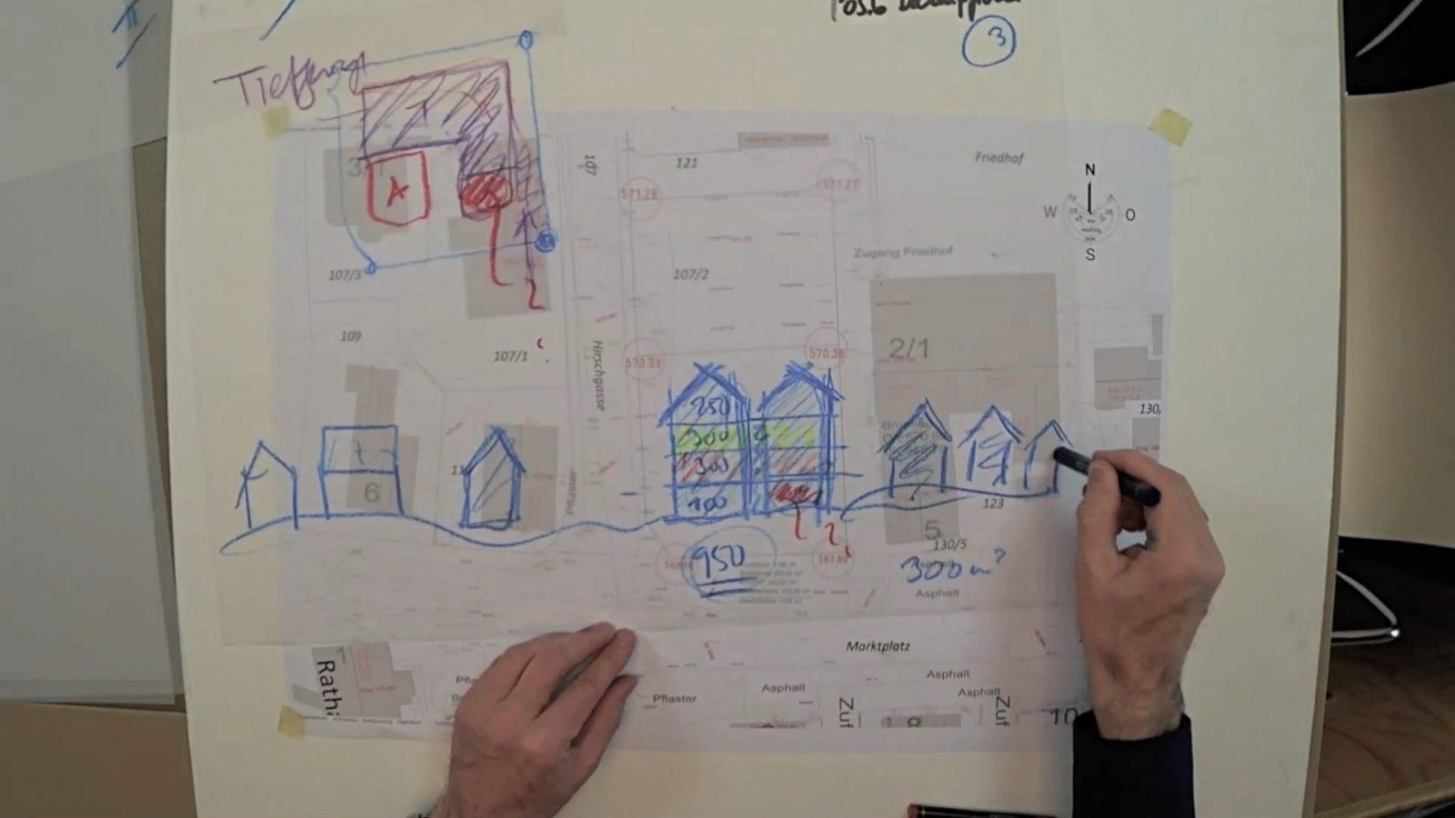 Entwurf und Grundriss des Wohn- und Geschäftshauses