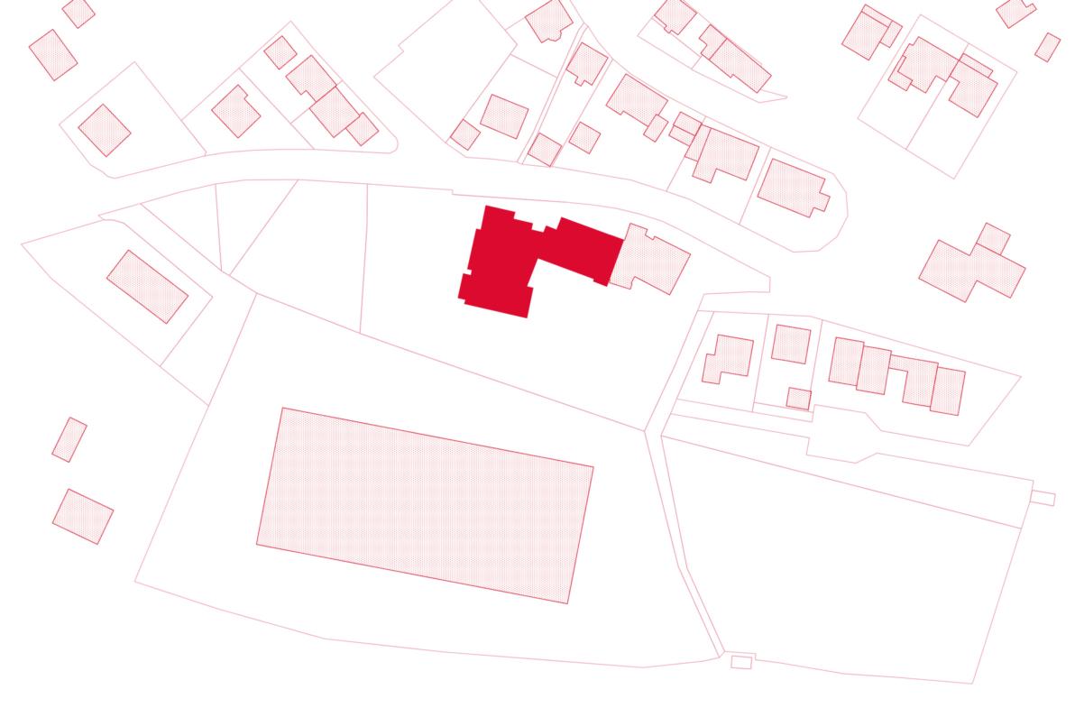 Lageplan: Der Neu- und Anbau sind hervorgehoben.
