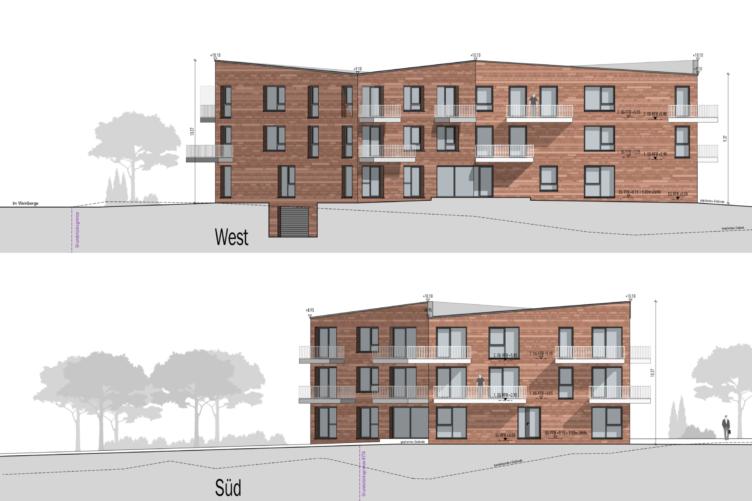 buerohauser_Projektentwicklung_Städtebau_Verdichtung Wohngebiet_Gebäude 3_Ansicht West und Süd