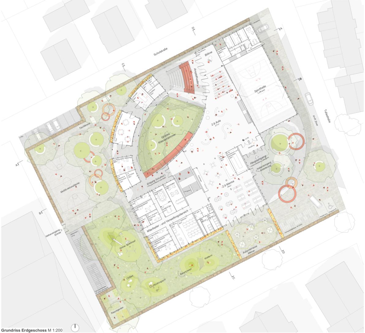 Grundriss Erdgeschoss buerohauser Wettbewerbsbeitrag Umbau eines Gemeinschaftsschulgebäudes in eine Grundschule und Errichtung einer Einfeld-Sporthalle Bietigheim 2021