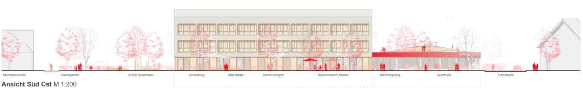 Ansicht Süd-Ost buerohauser Wettbewerbsbeitrag Umbau eines Gemeinschaftsschulgebäudes in eine Grundschule und Errichtung einer Einfeld-Sporthalle Bietigheim 2021