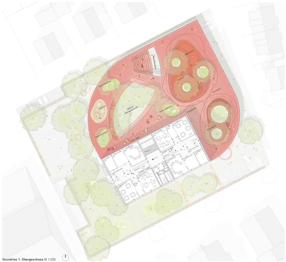 Grundriss 1. Obergeschoss buerohauser Wettbewerbsbeitrag Umbau eines Gemeinschaftsschulgebäudes in eine Grundschule und Errichtung einer Einfeld-Sporthalle Bietigheim 2021